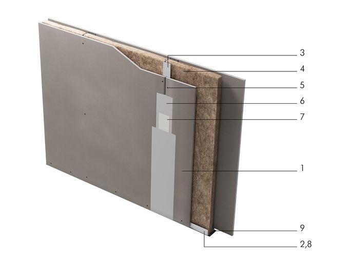 Перегородка с однослойными обшивками из КНАУФ-листов на одинарном металлическом каркасе С 111.
